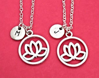 Friend Flower Necklace, Set of 2,925 Sterling silver,Best friend necklace,lotus flower necklace,flower necklace,2 bff necklaces,friend gift