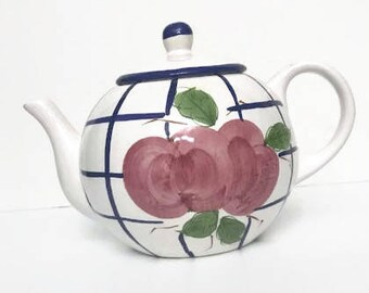 Vintage HIMARK Tea Pot with Lid White Porcelain adorned with Hand Paint Roses and Blue Stripes
