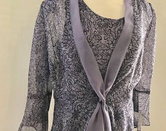 Beautiful 2 Piece Dress Lilac and Black  Elegant Special Occasion Mother of Bride  by Plaza South Size 18W