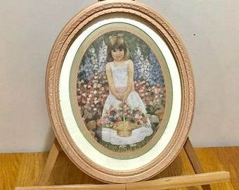"""Home Interior Oval Picture on a Easel  Little Girl Holding a Basket with Flowers Vintage Wall Decor 13' X 11"""" Easter Decor"""