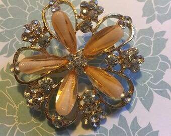 Gorgeous vintage glass and gemstone flower pin.