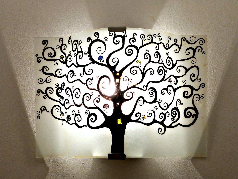 luminaire applique murale noire et blanc arbre de. Black Bedroom Furniture Sets. Home Design Ideas