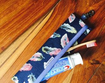 Ready / waterproof toothbrush case / Holster utensils / toothbrush box / gift for her / söcking stuffer / Navy denim / navy jeans