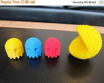 AUGUST SALE Retro Pac-Man and Company , Miniatures Four Pack, Pacman, Inky, Blinky, Pinky