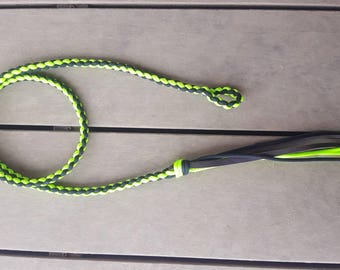 Neon green and black over under whip