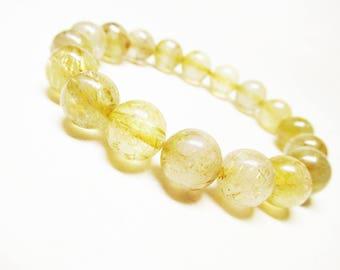 Rutilated Quartz Bracelet Gemstone Bracelet Healing Bracelet Spiritual Bracelet Prosperity Bracelet 10mm Golden Rutile Bracelet