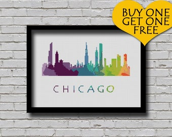 Cross Stitch Pattern Chicago Illinois Silhouette Watercolor Effect Painting Decor Embroidery Modern Ornament Usa City Skyline Xstitch