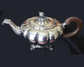 Rogers melon pattern 7377 teapot, sugar bowl, creamer, vintage silver plate