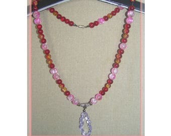 Lovely red and pink acrylic crystallized beads necklace