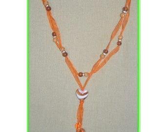 Long necklace mi orange organza and matching acrylic beads