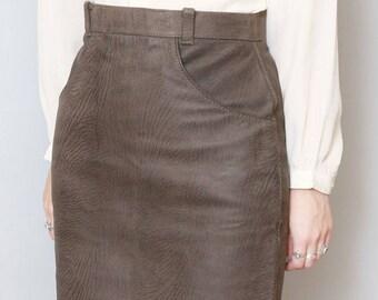 Vintage 1980's Zip Back Cedar Leather Mini Skirt