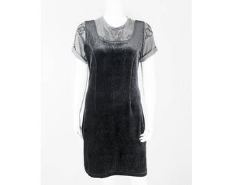 Vintage velvet dress with allover pattern