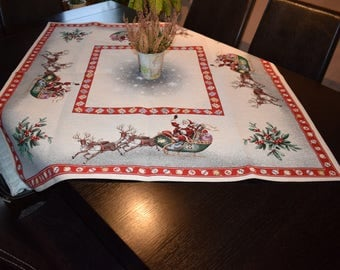 Christmas Tablecloth With Santa Sleigh And Reindeer Woven Table Cloth  Holiday Tablecloth Table Top Christmas Table
