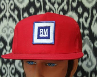 Vintage GM General Motors Red Hat, 1980s Automobile Hat, American Cars, New Old Stock