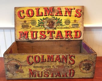 Vintage Wooden Crate Vintage Crate Vintage Wood Crate Colmans Mustard Crate Wooden Advertising Crate Vintage England Advertising Crate Box