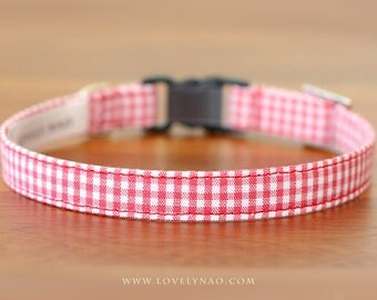 Classic Check Cat Collar – Red