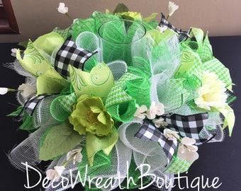 Summer centerpiece, Table decor, Summer wreath, Easter wreath, Mesh centerpiece, Spring centerpiece