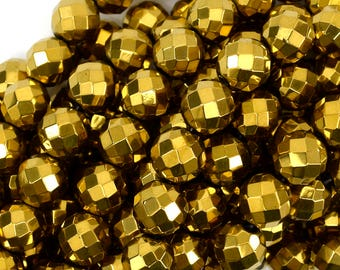 """12mm faceted gold hematite round beads 15.5"""" strand 38940"""