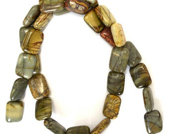 "14mm picasso jasper rectangle beads 15.5"" strand 38189"