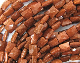 """8x10mm faceted goldstone rectangle beads 15.5"""" strand 33473"""