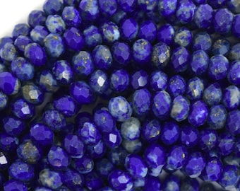 """4mm faceted natural blue lapis lazuli rondelle beads 15.5"""" strand 36581"""