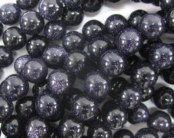 "8mm blue goldstone round beads 15"" strand 34645"