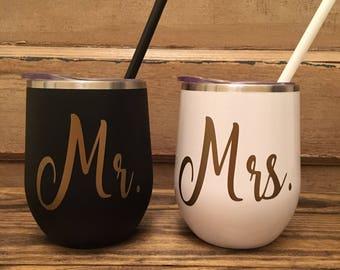 Mr. & Mrs. Stainless Steel Tumbler Set