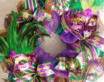 XMAS in JULY SALE-15%off Mardi gras wreath, Mardi gras Wreaths, Mardi gras, Fleur de lis wreath, Fleur de lis wreaths, fleur de lis, tri col