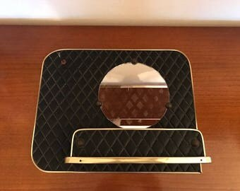 Mid century hall way mirror / black sky leather / coat rack / vintage / entry /brass