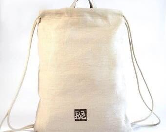 Gym bags combined, gym bag, backpack nature 100% hemp, persistent, vegan, organic, ökologish