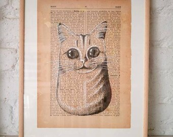 CATS No. 1. Printed drawing on recycled paper with highlights in black ink. 9,5x6,8in. Gift, Christmas, la petite illustration, cats