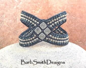 """ON SALE!  Wide Cuff Bracelet, Leather WOVEN Wrap, Black Silver Bracelet, Unique Design, Size 6"""", Wonder Woman Black Marble"""