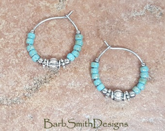 "Beaded Turquoise Blue Silver Hoop Earrings, Turquoise Stainless Steel Earrings, Small 3/4"" Diameter in Picasso Turquoise Blue"