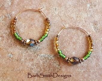 "Green and Copper Beaded Earrings-Rose Gold Hoops- 1"" Diameter in Vintage Garden (Picasso Light Topaz)"