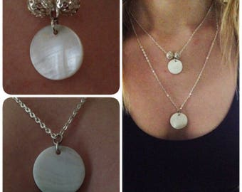double silver and mother of Pearl Necklace