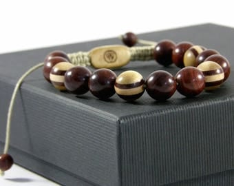 Bracelet made of bubinga and bead multi-essences Bracelet man-Woods beads gemstones-made hand Taamak