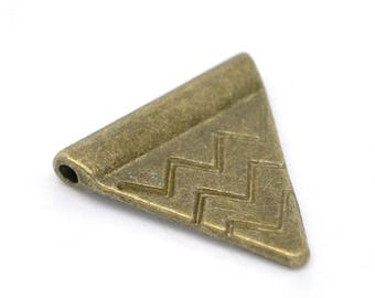 10 beads form triangle engraved motifs, ethnic, bronze antique, 1.4 mm