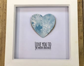 Love you to the Moon and back- Framed Picture- Valentine's Day gift- Friends- Home