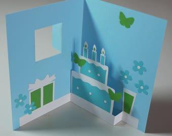 """""""Birthday"""" Kirigami pop-up card"""