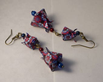 Origami flower earrings