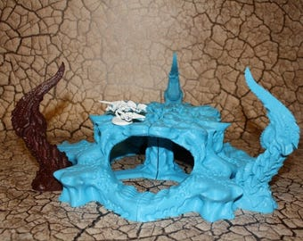 The HIVE with Bio Terrain Spire Nodes - Wargames Alien Terrain Scenery 40K Tyranid Terrain 3D Printed