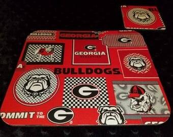 Georgia Bulldog Mouse Pad and Coaster Set