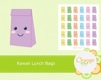 Kawaii Lunch Bag Stickers, Lunch Time Stickers, Lunch Reminder Stickers, Cute Lunch Stickers, Planner Stickers, Erin Condren Life Planner