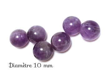 6 translucent round beads in Amethyst - 10 mm - purple-