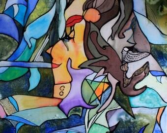 Life - painting on silk by Ausra dajore, abstrac, modern art