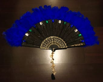 Handmade Blue Feathered Festival Fan with Green Blue White Gems- Gold Coin Wristlet/Anklet