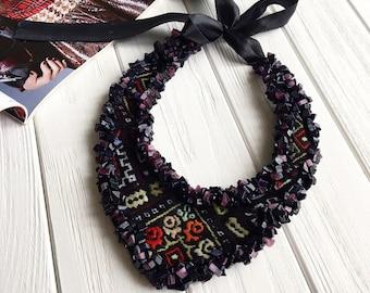 Embroidery jewelry, vyshyvanka style, hand embroidery, statement necklace, statement jewelry, boho jewelry, ukrainian jewelry, ethno style