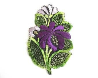 1930s Flower applique Purple Vintage floral patch, sewing supply. #6ADG9AK4