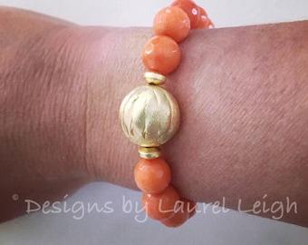 ORANGE and Gold Beaded Bracelet | UT, Tennessee, TN, Auburn, Texas, Florida, game day, gameday, team colors