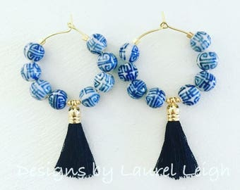 Chinoiserie Tassel Hoop Earrings | BLACK, blue and white, gold, Designs by Laurel Leigh